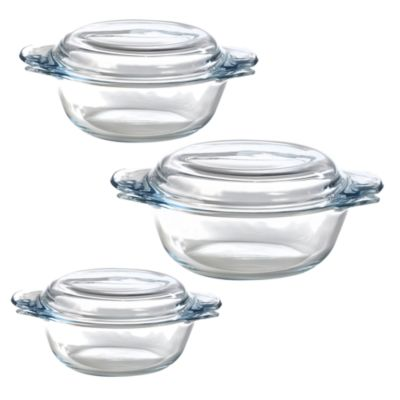 Pyrex 3 Piece Glass Casserole Set Lakeland