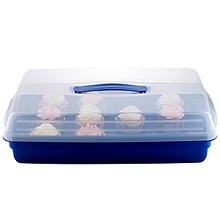 Cake Carrier Caddy & Clear Lid - Oblong Holds Cupcakes & Traybakes