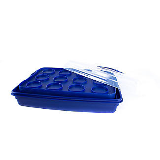 Cake Carrier Caddy & Clear Lid - Oblong Holds Cupcakes & Traybakes alt image 5