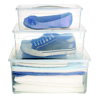 Clearview Stackable Clear Plastic Shoe Storage Box & Lid 18L alt image 2