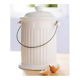 Ceramic Crock Food Compost Bin - White 2.8L