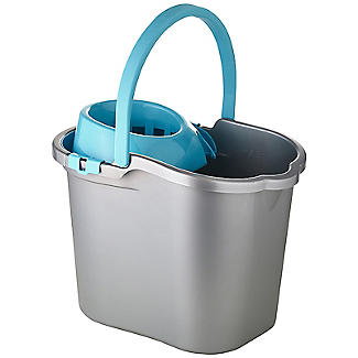 Grey & Blue Cleaning Mop Bucket, Handle & Wringer - 16L alt image 1
