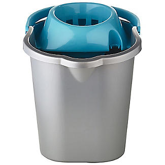 Grey & Blue Cleaning Mop Bucket, Handle & Wringer - 16L alt image 2
