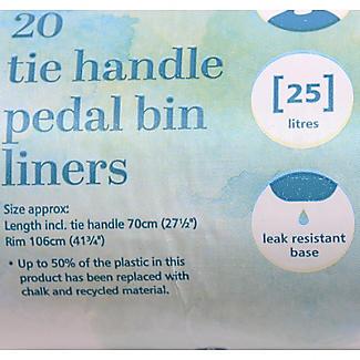 20 Lakeland Tie Handle Pedal Bin Liners - White Bags 25L alt image 2