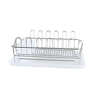 Oblong Small Compact Dish Drainer Rack - Stainless Steel alt image 6