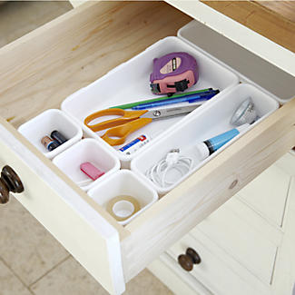 Interlocking Drawer Organiser 8pc Bin Set - White alt image 2