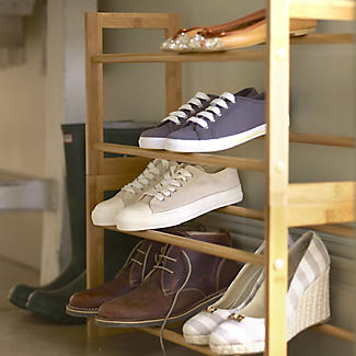 Extending and Stackable Steel Shoe Rack Wood-effect alt image 2