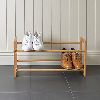Extending and Stackable Steel Shoe Rack Wood-effect alt image 4