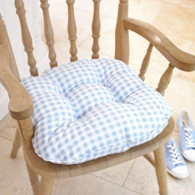 blue gingham kitchen chair cushion | lakeland