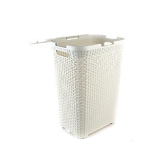 Curver Faux Rattan Lidded Laundry Basket 60L alt image 5