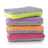 4 Dual Action Microfibre Cleaning Sponge & Scourer Pads