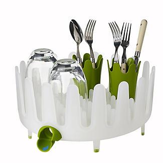 Dish Garden Round Dish Drainer Rack - White & Green