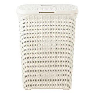 Curver Faux Rattan Lidded Laundry Basket Slim 40L