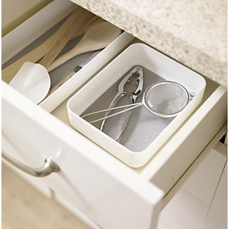 Stay Put Drawer Organiser Individual Utensil Tray - Small White alt image 2