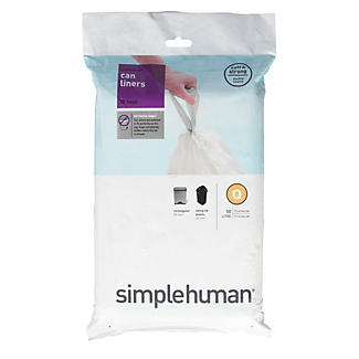 20 simplehuman Size Q Drawstring Bin Liners White Bags 50-65L alt image 2