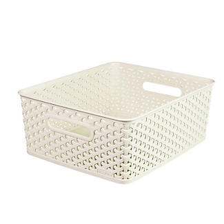 Medium Faux Rattan Storage Basket alt image 1
