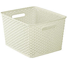 Large Faux Rattan Storage Basket