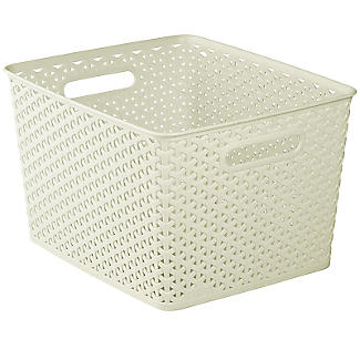 Large Faux Rattan Storage Basket alt image 1