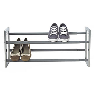 Extending and Stackable Steel Shoe Rack Silver alt image 1