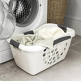 Easy Load White Plastic Laundry Washing Basket 50L alt image 2