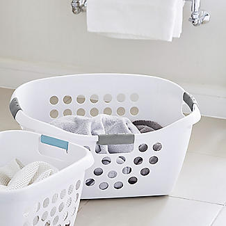 Easy Load White Plastic Laundry Washing Basket 50L alt image 3