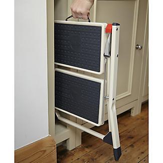 Foldable Portable 2 Tier Handy Step Stool - Cream (Holds 150kg) alt image 2