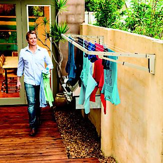 Hills Supa Fold Compact Washing Line - Beige alt image 2