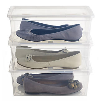 3 Stackable Clear Plastic Shoe Storage Boxes - Size 12 Shoe alt image 1