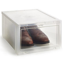 Drop Front Stackable Clear Plastic Shoe Storage Box - Large