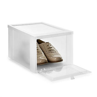 Drop Front Stackable Clear Plastic Shoe Storage Box - Medium