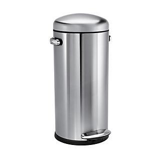 simplehuman Retro Diner-Style Kitchen Waste Pedal Bin - Silver 30L