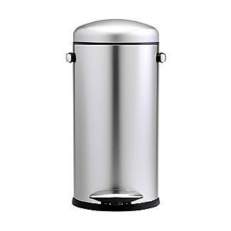 simplehuman Retro Diner-Style Kitchen Waste Pedal Bin - Silver 30L alt image 5