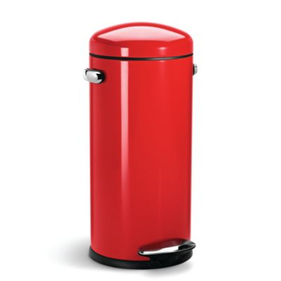 simplehuman Retro DinerStyle Kitchen Waste Pedal Bin  Red 30L