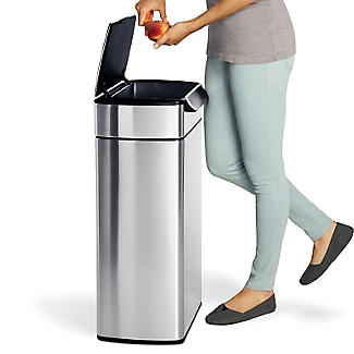 simplehuman Touch Bar Kitchen Waste Bin - Silver 40L alt image 2