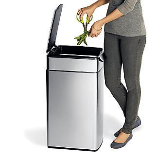simplehuman Slim Touch Bar Kitchen Waste Bin - Silver 40L alt image 4