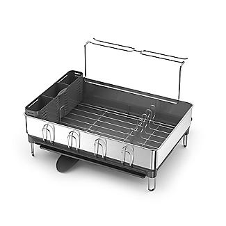 simplehuman Steel Frame Large Dish Drainer Rack - Silver and Grey