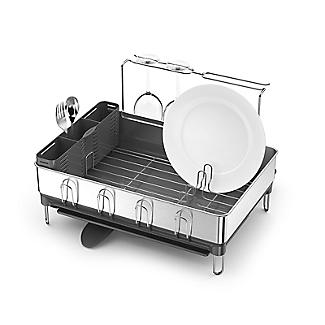 simplehuman Steel Frame Large Dish Drainer Rack - Silver and Grey alt image 2