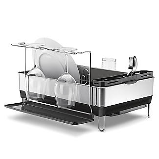 simplehuman Steel Frame Large Dish Drainer Rack - Silver and Grey alt image 3