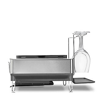 simplehuman Steel Frame Large Dish Drainer Rack - Silver and Grey alt image 8