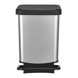 Rotho Kitchen Waste Pedal Bin - Metallic Effect 20L