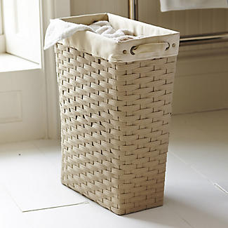 Slim Woven Lined Laundry Basket With Handles Beige 30l