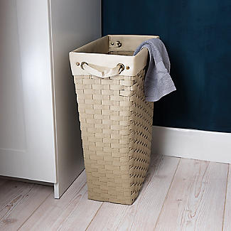 Slim Woven Lined Tall Laundry Basket 30L alt image 3