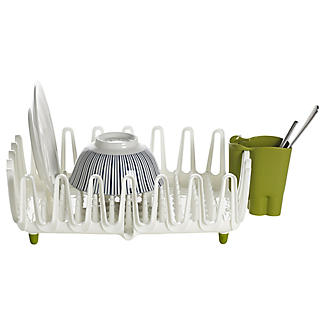 ILO Clam Shell Small Dish Drainer Rack White and Green alt image 4