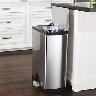 simplehuman Divided Recycle Kitchen Waste Pedal Bin - Silver 46L alt image 2