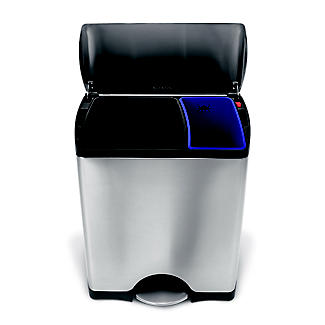 simplehuman Divided Recycle Kitchen Waste Pedal Bin - Silver 46L alt image 3