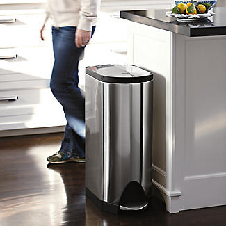 simplehuman Butterfly Lid Kitchen Recycler Pedal Bin - Silver 40L alt image 2