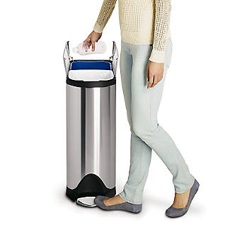 simplehuman Butterfly Lid Kitchen Recycler Pedal Bin - Silver 40L alt image 5
