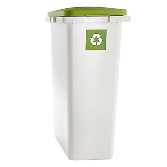 Slimline Interlocking Recycle Kitchen Waste Bin - White