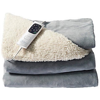 Velvety Electric Heated Throw Grey & Cream -