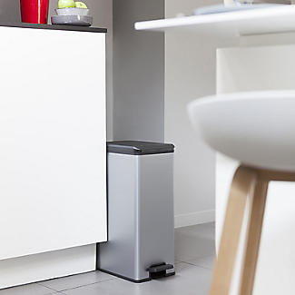 Curver Slimline Kitchen Waste Pedal Bin - Metallic Effect 40L alt image 2
